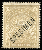 Lot 964:1884-96 3/- Drab Existing Stamp Duty SG #268 overprinted 'SPECIMEN' Type 21 in sans-serif Roman capitals without 'stop', part og. Only two examples in private hands. Ex Les Molnar.