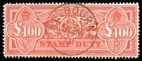 Lot 2173:1884-1900 High Values Typo 2nd V/Crown Perf 12½ £100 pinkish-red SG #291, with superb strike of Melbourne 'JA26/01' CTO datestamp, full unmounted gum.