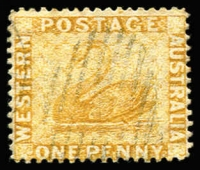 Lot 1001:1882-85 Recess Wmk Crown/CA (Sideways) Perf 14 1d bistre Watermark sideways reversed as seen from front of stamp SG #76x, used, unpriced in Gibbons.