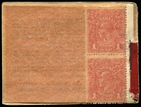Lot 748:1917-18 2/- black on deep red (missing front cover), revised text on inside back cover BW #B12Ba, two of the original 24 stamps intact, Cat $5,000 (for examples with covers intact, containing any number of stamps).