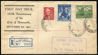 Lot 858 [1 of 2]:Eustis (Nelson) 1947 Newcastle Centenary set tied to registered printed FDC bt Adelaide '8SE47' datestamp, Oceanic Australian Stamp Co (Eustis brand name) handstamped address, very fine (unopened) condition, and scarce.