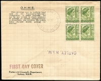 Lot 859:PMG's Department 1951 2d Green QE block of 4 tied to registered generic by GPO Sydney 130 (Sydney stamp sales counter) '28MR51' FDI datestamp, unaddressed but with curious inverted 'OATLEY, NSW' handstamp, unsealed flap. Very fine.
