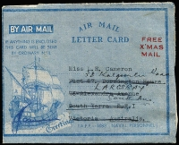 Lot 905 [2 of 2]:Airmail Letter Cards scarce uses by Australian servicemen of GB illustrated Air Mail Letter Cards, the earlier written aboard HMAS Lismore the latter aboard HMS Formidable, between Tarakan and Morotai. (2)