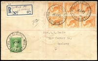Lot 801 [1 of 2]:Australia 1940-42 pair of Gavin registered covers (creased clear of stamps) from Military PO Geelong No 1, showing two types of datestamps (superb strikes) and provisional registration labels. Scarce duo. (2)