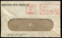 Lot 800:Australia (Jan 16) window envelope bearing superb strike of rare Sydney 'SEE -/WE OF THE A.I.F.' slogan 'PAID' cancel in red, referencing a Govt produced patriotic movie.