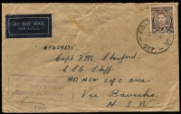 "Lot 596:Labuan 1945 (Jul 7) cover (flap tear) sent at 3d KGVI tied by ""FIELD POST OFFICE/7JY45/037"" datestamp (in use at Labuan), paying concessional airmail rate."