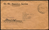 Lot 987:Torres Strait 1945 (May 29) stampless official cover from Torres Strait Coast Arty to Melbourne with fine strike of scarcer 'FIELD PO/29MY45/094' datestamp, then in use at Thursday Island.