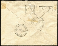 Lot 932 [2 of 2]:1931-37 Wmk CofA 3d BW #D118 pair, used to pay 6d double deficiency on 1938 (Jan 24) cover (opening faults) from Hobart to Sydney bearing 5d KGV, informative handstamp advises weight over ½oz, the due pair affixed and tied by Delivery Room GPO Sydney datestamp. Attractive example of this very difficult stamp on cover.