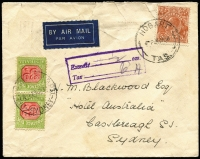 Lot 932 [1 of 2]:1931-37 Wmk CofA 3d BW #D118 pair, used to pay 6d double deficiency on 1938 (Jan 24) cover (opening faults) from Hobart to Sydney bearing 5d KGV, informative handstamp advises weight over ½oz, the due pair affixed and tied by Delivery Room GPO Sydney datestamp. Attractive example of this very difficult stamp on cover.