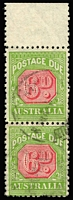Lot 933:1931-37 Wmk CofA 6d P11 BW #D120 marginal vertical pair (lower unit nibbed perfs), tidy datestamp cancel, Cat $800+ (SG #D110 Cat £650+).