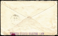 Lot 1010 [2 of 2]:1914 (Oct 28) cover bearing KGV 1d red, sent Melbourne to China, censored in Ceylon where resealed with stamp selvedge (with marginal Control), tied by 'OPENED UNDER MARTIAL LAW' handstamp, Censor/A handstamp at lower left, backstamped Shanghai. Enclosed letter has had section excised, apparently by censor. Important association with events that led to 1915 Singapore Mutiny.