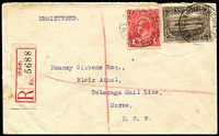 Lot 887:1915 (Sep 6) registered cover to Moree (NSW) with rare combination franking of Tasmania 3d Pictorial & KGV 1d red tied by Sydney registered datestamp, few minor tones.