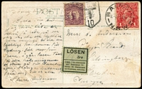 Lot 867:1916 (Jan 9) PPC to Sweden franked with 1d red KGV underpaying the 1½d rate, taxed with 'LOSEN' label affixed & 8 ore bright violet added.