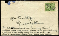 "Lot 1014:1934 (Mar 27) Maroochy River settler's cover to fellow riverside settler sent via the unofficial Maroochy River Boat Mail Service with KGV 1d green pen cancelled ""27/3/34"" by the boat's mailman, inked annotations at base of cover, small faults. Unusual."