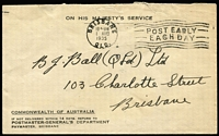Lot 323:1935 (Aug 1) PMG's Dept stampless cover, sent locally with Brisbane slogan cancel. Early PMG Dept official cover.