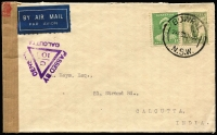 Lot 835:1940 (Jan 30) airmail cover from Bowral (NSW) to India at scarce wartime 1/1d per half oz rate, carried IEL Flight SW212, Calcutta censor tape and handstamp.