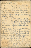 Lot 711 [2 of 2]:1940 (Aug 30) KGVI 1½d Postal Card uprated 7½d to pay airmail rate to Palestine, Abbotsford (Vic) datestamps, 'PASSED BY/CENSOR/V75' handstamp in blue, extensive message on reverse written in German & Hebrew. Staining & age-spotting.  combined lot 3120727