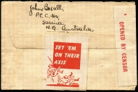 Lot 668 [1 of 2]:1944 (Mar 23) cover from Sarina (Qld) to New Zealand at 5½d airmail rate, censored at Sydney, bearing rare propaganda cinderella 'SET 'EM/ON THEIR/AXIS' adhered to reverse.