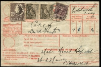 "Lot 675:1949 (Mar 29) use of Parcel Post label at Stockport (SA), franked at 3/7d for Food parcel at 3-7lbs rate to UK, mss ""Cake & Dried Fruits"", fine condition, considerably scarcer than 3/7d embossed Stationery cut-out."