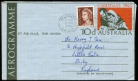 Lot 897:1966 use of 1965 Christmas 10d Aerogramme postally used 1966 (Mar 12) after introduction of decimal currency and uprated with QEII 1c stamp for 9c Aerogramme rate validity (8c + 1c). Very scarce £SD/Decimal combination.
