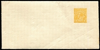 Lot 681:1915-17 4d Orange KGV Sideface BW #ES20 cut-down upper portion of Wool Sample Envelope (165x83mm), fine condition.