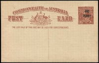 Lot 469:1923 'ONE/PENNY' On 1½d Red-Brown KGV Sideface Obsolete Stock BW #P58, fine unused, Cat $750.