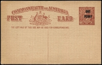 Lot 938:1923 'ONE/PENNY' on 1½d KGV Sideface Obsolete Stock in red-brown BW #P58, prominent constant flaw in left value tablet, fine unused, Cat $750.