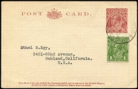 Lot 834:1930-37 1½d Red-Brown KGV Sideface on flimsy cream stock BW #P68(2), 1937 (Nov 11) late uprated use to USA.