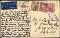 Lot 771 [2 of 2]:1938-41 1½d Red-Brown KGVI BW #P70 x2, both uprated for 9d airmail postcard rate to same correspondent in Palestine, two types of Sydney Censor handstamp, one card with variety No stop after added, #P70d, scarce rate. Nice duo. (2)