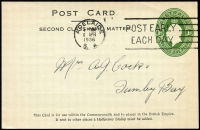 Lot 774:1928-37 1d Green KGV Oval BW #PS23 1936 (Apr 6) use at Adelaide for Bickford & Sons, very fine.