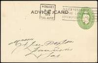 Lot 897:1941-50 1½d Green KGVI Oval BW #PS29 use at Hobart by H.Jones & Co, addressed to Launceston, very fine.