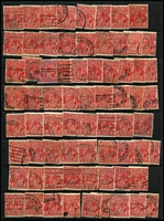 Lot 268 [3 of 3]:2d Red Accumulation in Binder unchecked for varieties, possible postmark interest. (Approx 650)