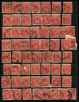 Lot 268 [1 of 3]:2d Red Accumulation in Binder unchecked for varieties, possible postmark interest. (Approx 650)