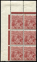 Lot 677:1½d Red-Brown Die II BW #93 corner block of 6 (2x3), mounted on sheet edge only, stamps MUH, Cat $120+.