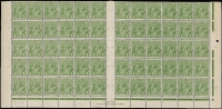 Lot 663:1d Green Plate 4 lower half of sheet [VII/31-60 & VIII/31-60] showing original state of listed flaws including Mullett two-line imprint block with Ferns [VII/54] & RA' joined [VII/60] BW #81(4)z; also Wattle line [VII/31], Flaw under neck [VII/37], Roo's tongue out [VIII/56], Run 'N' (third state) [VIII/60], few trivial marks on gum, very mild even toning. An important positional piece, Cat $2,900++.