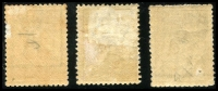 Lot 1 [2 of 3]:2/- Brown Group with First Wmk 2/- dark brown, small-part disturbed gum, Third Wmk x2 (shades), deeper shade with small gum-side inclusion, paler shade with some toning, Cat $1,500 (when fine). (3)