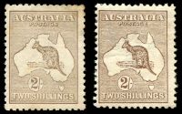 Lot 1 [3 of 3]:2/- Brown Group with First Wmk 2/- dark brown, small-part disturbed gum, Third Wmk x2 (shades), deeper shade with small gum-side inclusion, paler shade with some toning, Cat $1,500 (when fine). (3)