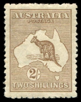 Lot 1 [1 of 3]:2/- Brown Group with First Wmk 2/- dark brown, small-part disturbed gum, Third Wmk x2 (shades), deeper shade with small gum-side inclusion, paler shade with some toning, Cat $1,500 (when fine). (3)