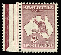 Lot 614:2/- Maroon Die II variety Cut throat kangaroo [1R25] BW #40(1)h, fine marginal MLH, Cat $250.