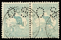 Lot 93 [1 of 2]:1/- Selection with pairs x2 (one perf Small 'OS'), singles shades x7 with some neat datestamp cancels, some perf blemishes, mostly fine. (11)