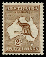 Lot 28:2/- Brown BW #35, marginal wmk line at left, fine mint, Cat $650.