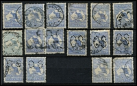 Lot 204 [2 of 2]:6d Blue Selection with pair and singles x8, many with tidy datestamp cancels; also perf Large 'OS' x3 & perf Small 'OS' x3; some blemishes (mostly perf blemishes), generally fine, Cat $650+. (17)