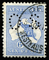 Lot 204 [1 of 2]:6d Blue Selection with pair and singles x8, many with tidy datestamp cancels; also perf Large 'OS' x3 & perf Small 'OS' x3; some blemishes (mostly perf blemishes), generally fine, Cat $650+. (17)