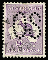 Lot 91 [2 of 4]:9d Violet Perf Large 'OS' BW #24ba x4, one with Shading break under 'E' of 'NINE', good to fine used, Cat $600. (4)