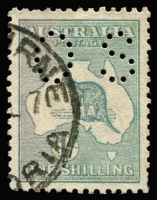 Lot 95:1/- Green Perf 'OS' BW #31ba, nibbed perf, well centred, Cat $475. Scarce.