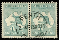 Lot 505 [2 of 5]:1/- Selection with variety Break in bottom frame under 'O' of 'ONE' [2L23] BW #31(2)j; also a fine used pair plus singles x3 (shades), Cat $700. (6)