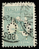 Lot 513 [2 of 4]:1/- Blue-Green Die II Selection with block of 4 well centred, also singles x3, one Watermark inverted, another in sea-green shade (dryish ink) perf 'OS', the other very fine used with Woollahra (NSW) datestamp, Cat $700+. (4 items)