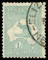 Lot 579 [3 of 4]:1/- Blue-Green Die II Selection with block of 4 well centred, also singles x3, one Watermark inverted, another in sea-green shade (dryish ink) perf 'OS', the other very fine used with Woollahra (NSW) datestamp, Cat $700+. (4 items)