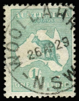 Lot 579 [1 of 4]:1/- Blue-Green Die II Selection with block of 4 well centred, also singles x3, one Watermark inverted, another in sea-green shade (dryish ink) perf 'OS', the other very fine used with Woollahra (NSW) datestamp, Cat $700+. (4 items)
