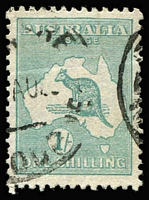 Lot 514 [2 of 5]:1/- Die IIB Plate 4 Variety Selection comprising 'LI' of 'SHILLING' deformed & Retouch (mostly obscured by datestamp) BW #33(4)h&ha, Flaw on left of 'S' of 'SHILLING' perf 'OS' #33ba(4)j (short perfs), White flaw through 'TRA' of 'AUSTRALIA' #33(4)k & '1' for first 'I' in 'SHILLING' #33(4)l, some blemishes, Cat $500+ (ex the retouch, which is difficult to see). (5 items)